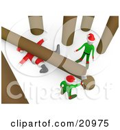 Clipart Illustration Of A Fallen Tree On Top Of Santa After An Elf Tries To Cut Firewood