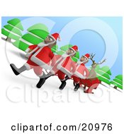 Clipart Illustration Of A Herd Of Santas Pulling A Reindeer In A Sleigh