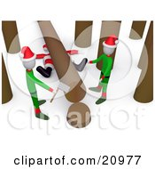 Clipart Illustration Of A Santa Squished Under A Tree Trunk While Two Elves Try To Chop Down Trees
