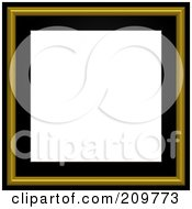 Royalty Free RF Clipart Illustration Of A Black And Gold Picture Frame With White Space