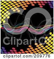 Royalty Free RF Clipart Illustration Of Neon Squiggly Lines Over A Colorful Halftone Equalizer On Black