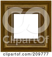 Royalty Free RF Clipart Illustration Of A Thick Fancy Wooden Picture Frame With White Space