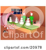 Clipart Illustration Of Two Elves Working In Santas Workshop Making Snowmen On A Production Line