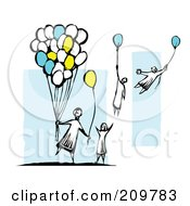 Royalty Free RF Clipart Illustration Of A Group Of Children Grabbing Balloons And Floating Away by xunantunich
