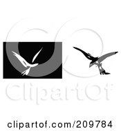 Royalty Free RF Clipart Illustration Of Black And White Abstract Birds In Flight by xunantunich