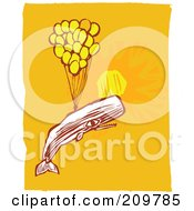 Royalty Free RF Clipart Illustration Of A Whale Floating With Balloons In A Sunny Sky