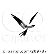 Royalty Free RF Clipart Illustration Of A Black And White Abstract Bird In Flight