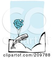 Royalty Free RF Clipart Illustration Of A Whale Floating Above The Clouds With A Bunch Of Balloons by xunantunich