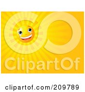 Royalty Free RF Clipart Illustration Of A Happy Shining Sun Background With Orange Rays