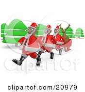 Reindeer Riding In A Sleigh Traveling Through The Forest And Being Pulled By Santas
