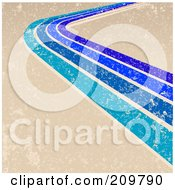 Royalty Free RF Clipart Illustration Of A Grungy Beige Background With Blue Lines And A Curve