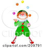 Royalty Free RF Clipart Illustration Of A Cute Party Clown Looking Up And Juggling by Pushkin