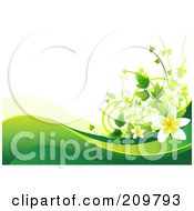 Royalty Free RF Clipart Illustration Of A Plumeria Flower Background With Green Waves Over White by Pushkin