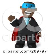 Royalty Free RF Clipart Illustration Of A 3d Black Business Man Super Hero Waving And Facing Front