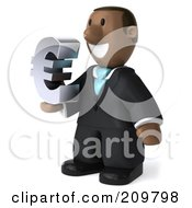Royalty Free RF Clipart Illustration Of A 3d Black Business Man Holding A Euro Symbol And Facing Left