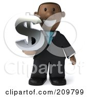 Royalty Free RF Clipart Illustration Of A 3d Black Business Man Holding A Dollar Symbol And Facing Front
