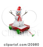 Playful Snowman Wearing A Red Scarf And Santa Hat Riding In A Red Wagon