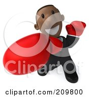Royalty Free RF Clipart Illustration Of A 3d Black Business Man Wearing Boxing Gloves And Punching Outwards by Julos