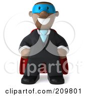 Royalty Free RF Clipart Illustration Of A 3d Black Business Man Super Hero Facing Front