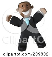 Royalty Free RF Clipart Illustration Of A 3d Black Business Man Smiling And Jumping