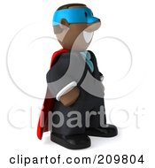 Royalty Free RF Clipart Illustration Of A 3d Black Business Man Super Hero Facing Right