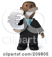 Royalty Free RF Clipart Illustration Of A 3d Black Business Man Holding A Euro Symbol And Facing Front