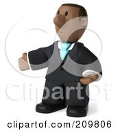 Royalty Free RF Clipart Illustration Of A 3d Black Business Man Gesturing To The Left