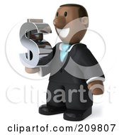 Royalty Free RF Clipart Illustration Of A 3d Black Business Man Holding A Dollar Symbol And Facing Left