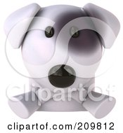 Royalty Free RF Clipart Illustration Of A 3d Bull Terrier Dog Looking Up Over A Blank Sign by Julos