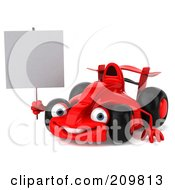 Royalty Free RF Clipart Illustration Of A 3d Red Formula One Race Car Facing Left And Holding A Blank Sign by Julos