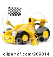 Royalty Free RF Clipart Illustration Of A 3d Yellow Formula One Race Car Facing Left And Waving A Checkered Flag by Julos