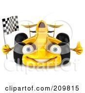3d Yellow Formula One Race Car Facing Left And Waving A Racing Flag