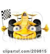 Royalty Free RF Clipart Illustration Of A 3d Yellow Formula One Race Car Facing Left And Waving A Racing Flag