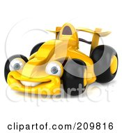 Royalty Free RF Clipart Illustration Of A 3d Yellow Formula One Race Car Facing Left by Julos