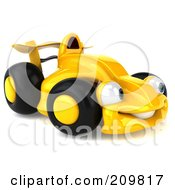 Royalty Free RF Clipart Illustration Of A 3d Yellow Formula One Race Car Facing Right by Julos