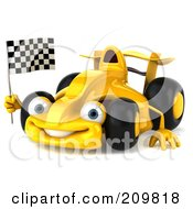 Royalty Free RF Clipart Illustration Of A 3d Yellow Formula One Race Car Facing Slightly Left And Waving A Checkered Flag by Julos