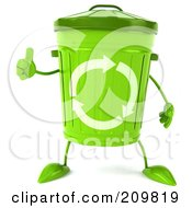 Royalty Free RF Clipart Illustration Of A 3d Green Recycle Bin Character Holding A Thumb Up by Julos