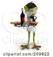 Royalty Free RF Clipart Illustration Of A 3d French Frog Serving Wine And Bread by Julos