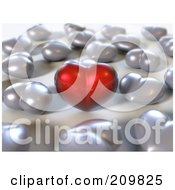 Royalty Free RF Clipart Illustration Of A Red 3d Heart Surrounded By Silver Hearts by Julos