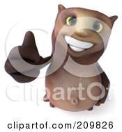 Royalty Free RF Clipart Illustration Of A 3d Owl Character Looking Upwards And Holding His Thumb Up by Julos