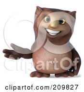 Royalty Free RF Clipart Illustration Of A 3d Owl Character Gesturing And Facing Right by Julos