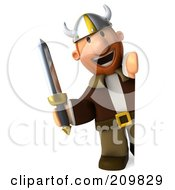 Royalty Free RF Clipart Illustration Of A 3d Young Viking Facing Front And Holding A Sword Around A Blank Sign