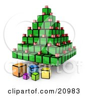 Futuristic Christmas Tree And Presents Made Of Cubes