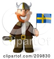 Royalty Free RF Clipart Illustration Of A 3d Young Viking Facing Front And Holding A Swedish Flag And Sword by Julos