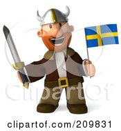 Royalty Free RF Clipart Illustration Of A 3d Young Viking Smiling Facing Front And Holding A Swedish Flag And Sword by Julos