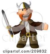 Royalty Free RF Clipart Illustration Of A 3d Young Viking Facing Front With A Sword by Julos