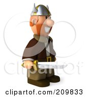 Royalty Free RF Clipart Illustration Of A 3d Young Viking Facing Right And Holding A Sword by Julos