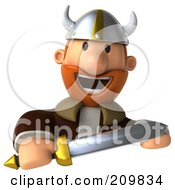 Royalty Free RF Clipart Illustration Of A 3d Young Viking Facing Front And Holding A Sword Over A Blank Sign by Julos