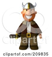 Royalty Free RF Clipart Illustration Of A 3d Young Viking Facing Front And Holding A Sword by Julos