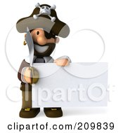 Royalty Free RF Clipart Illustration Of A 3d Young Pirate With A Sword Holding A Blank Sign